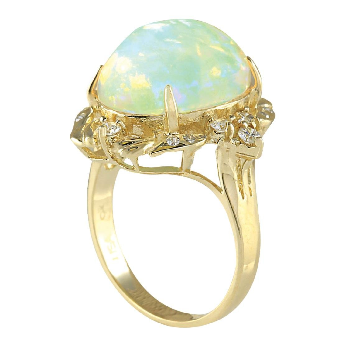 8.87CTW Natural Opal And Diamond Ring In 18K Yellow - 3