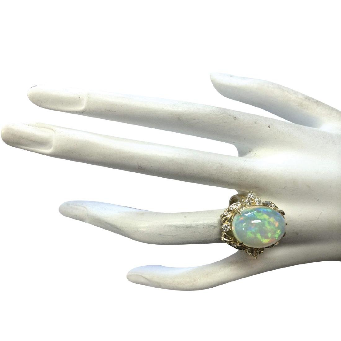 8.87CTW Natural Opal And Diamond Ring In 18K Yellow - 4