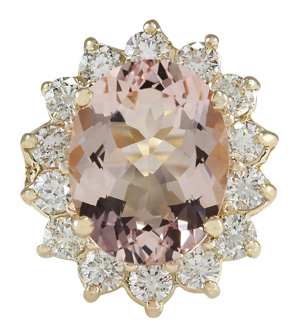 6.08CTW Natural Morganite And Diamond Ring In 18K Solid