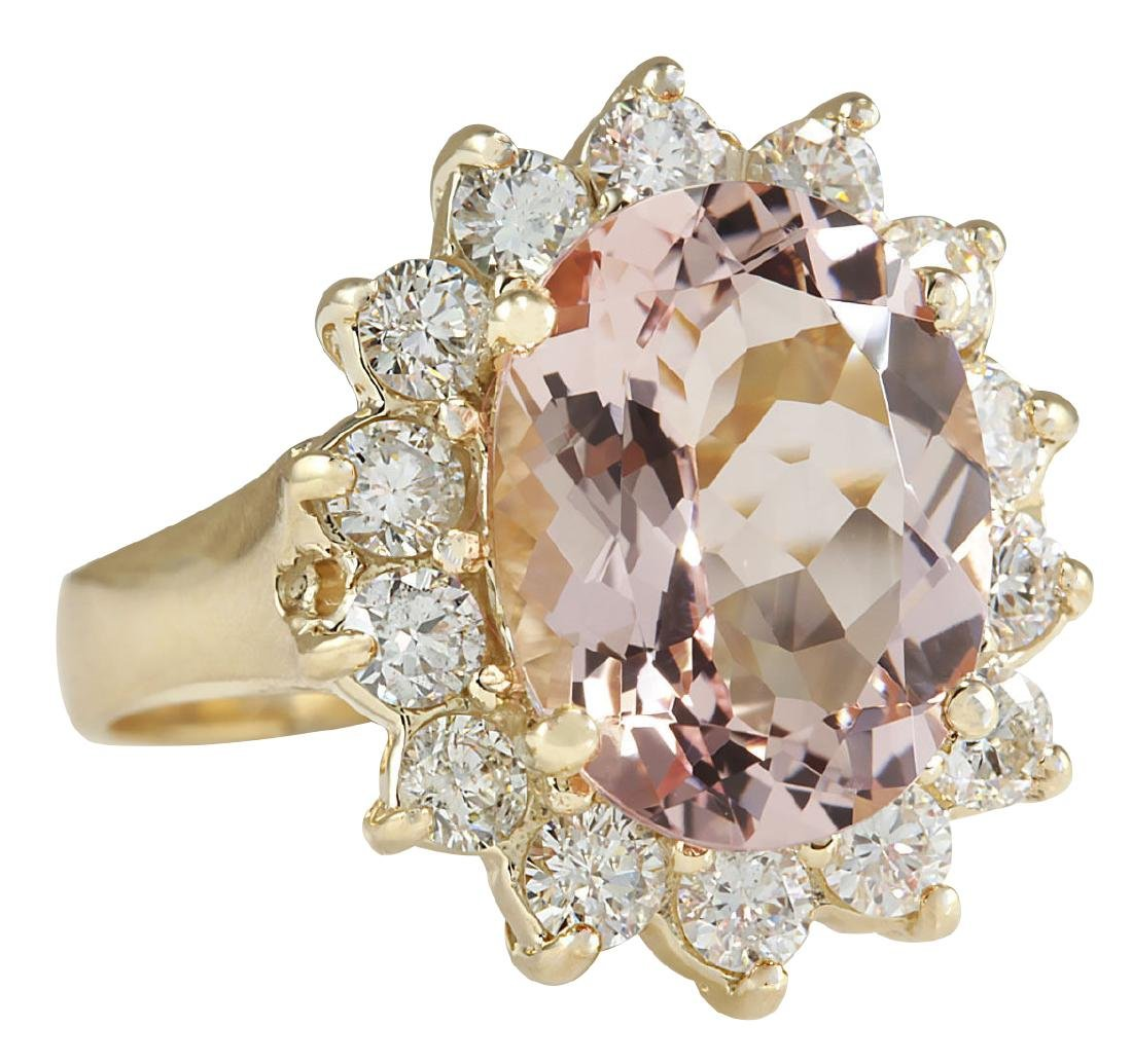 6.08CTW Natural Morganite And Diamond Ring In 18K Solid - 2