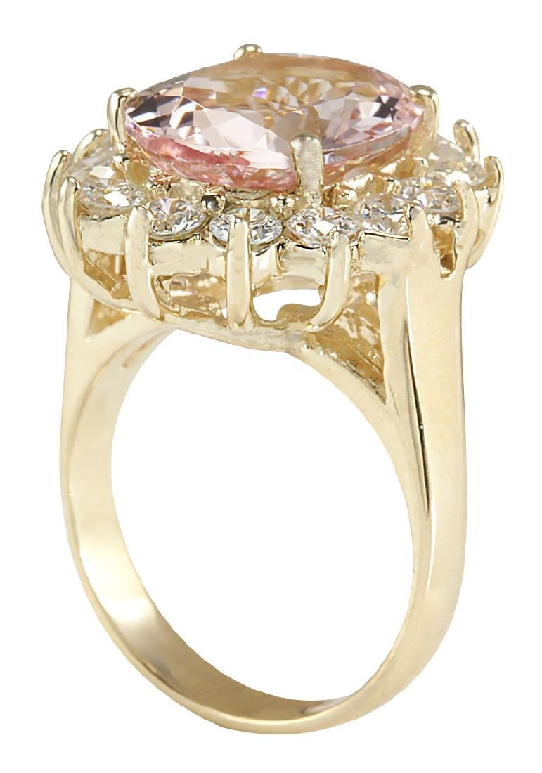 6.08CTW Natural Morganite And Diamond Ring In 18K Solid - 3