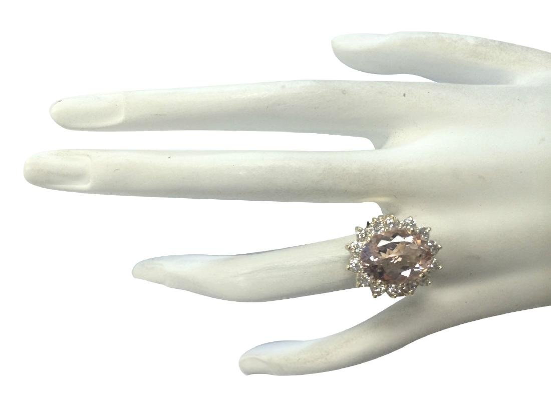 6.08CTW Natural Morganite And Diamond Ring In 18K Solid - 4