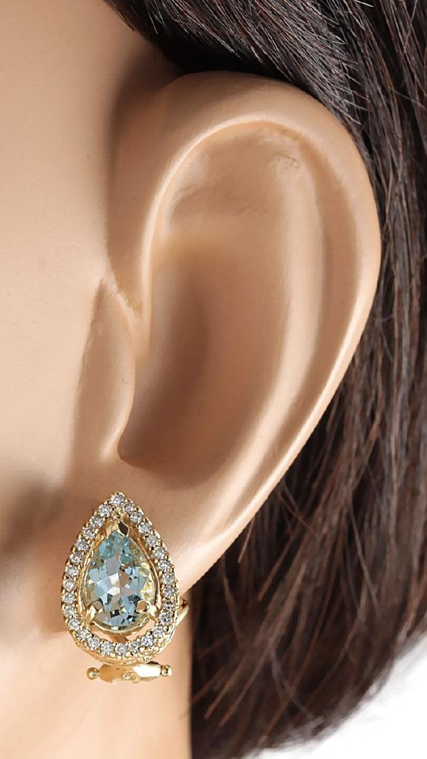 2.76 CTW Natural Aquamarine And Diamond Earrings 18K - 3