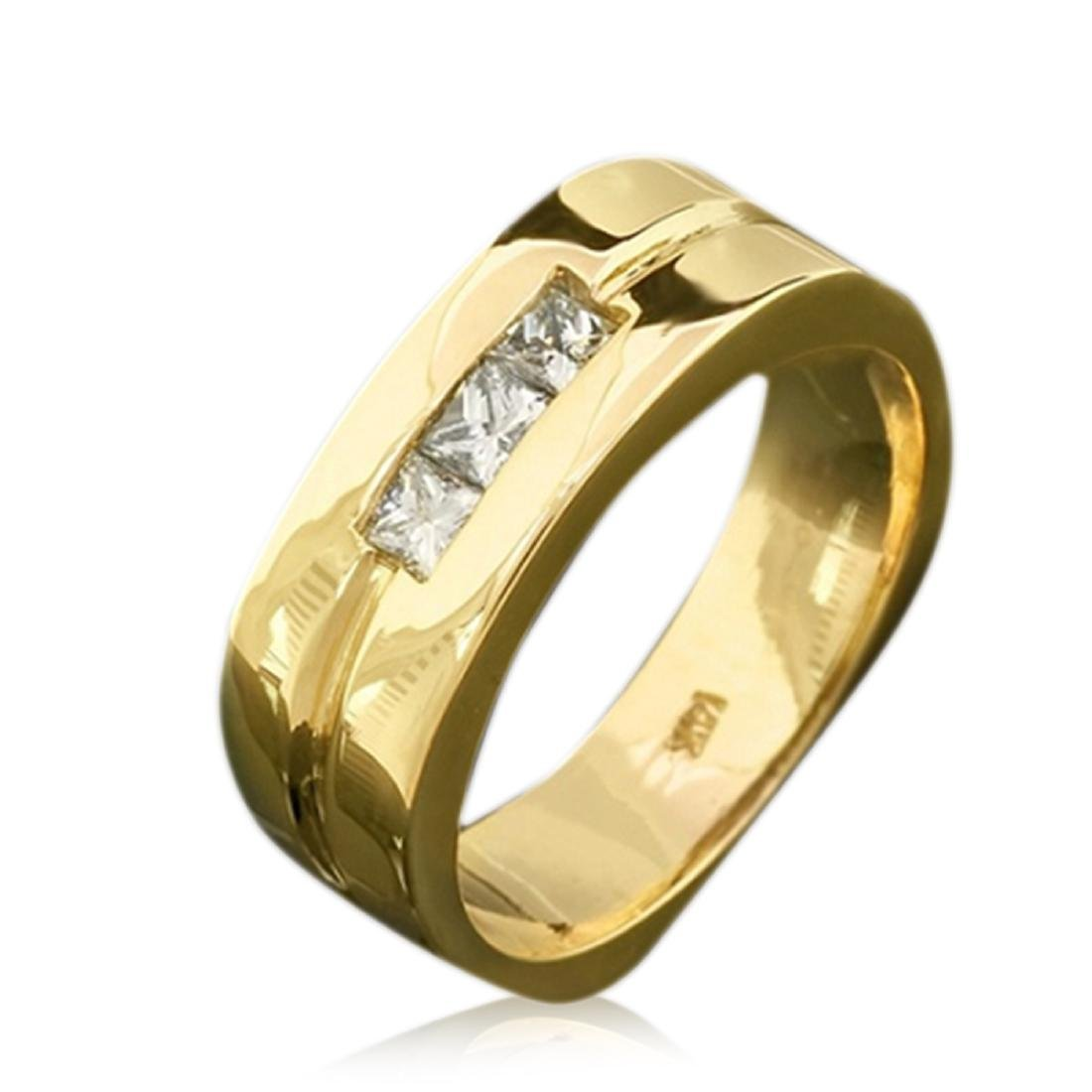 Mens 0.40 Carat Natural Diamond 18K Solid Yellow Gold