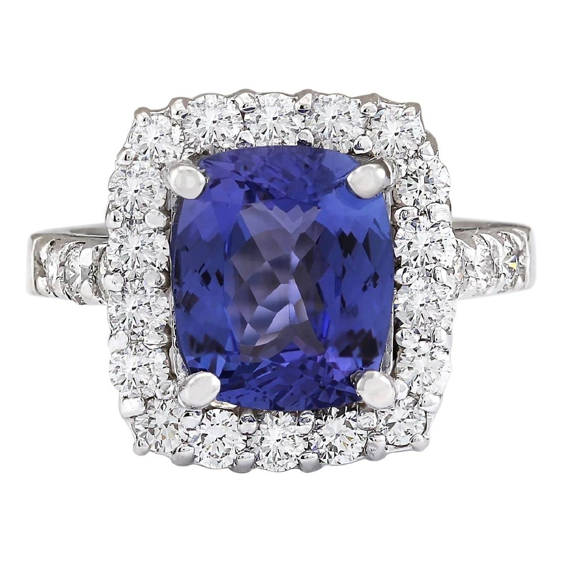 4.95 CTW Natural Blue Tanzanite And Diamond Ring 18K