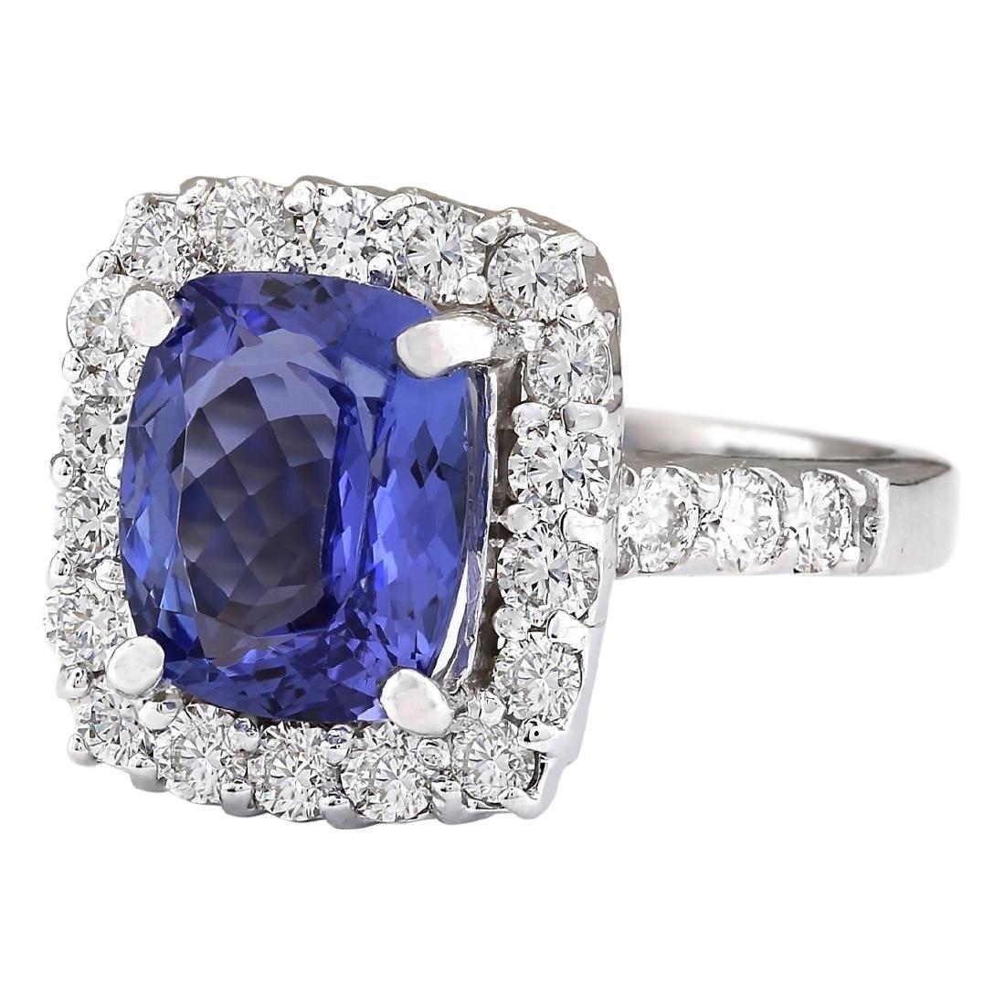 4.95 CTW Natural Blue Tanzanite And Diamond Ring 18K - 2