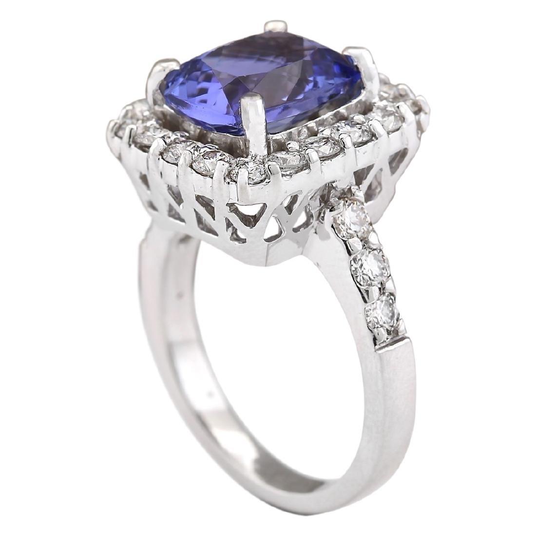 4.95 CTW Natural Blue Tanzanite And Diamond Ring 18K - 3