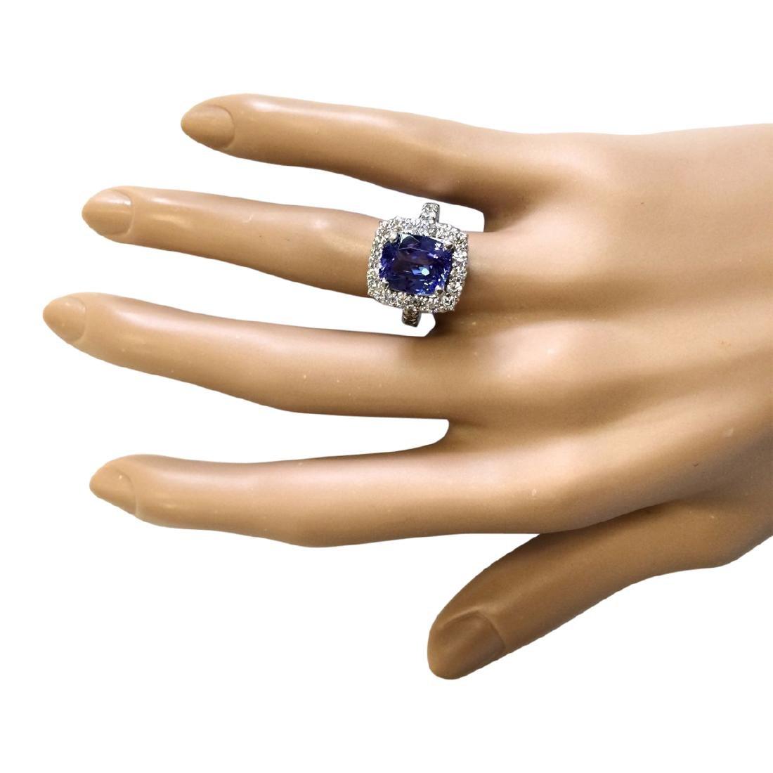 4.95 CTW Natural Blue Tanzanite And Diamond Ring 18K - 4