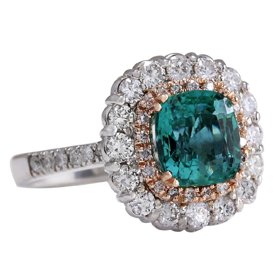 3.26CTW Natural Emerald And Diamond Ring 18K Solid - 2