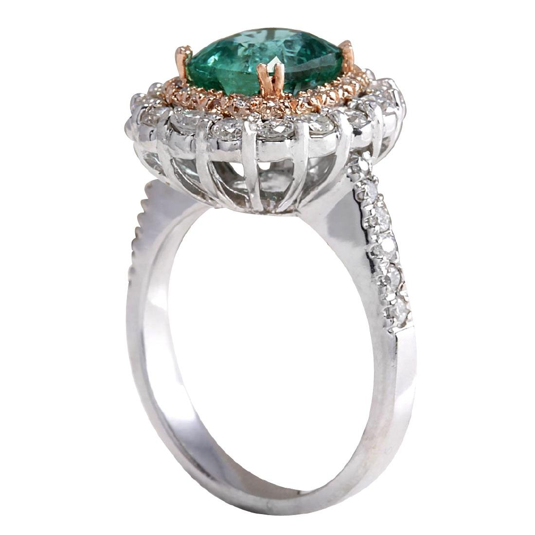 3.26CTW Natural Emerald And Diamond Ring 18K Solid - 3