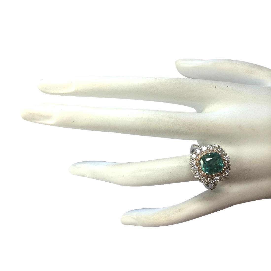 3.26CTW Natural Emerald And Diamond Ring 18K Solid - 4