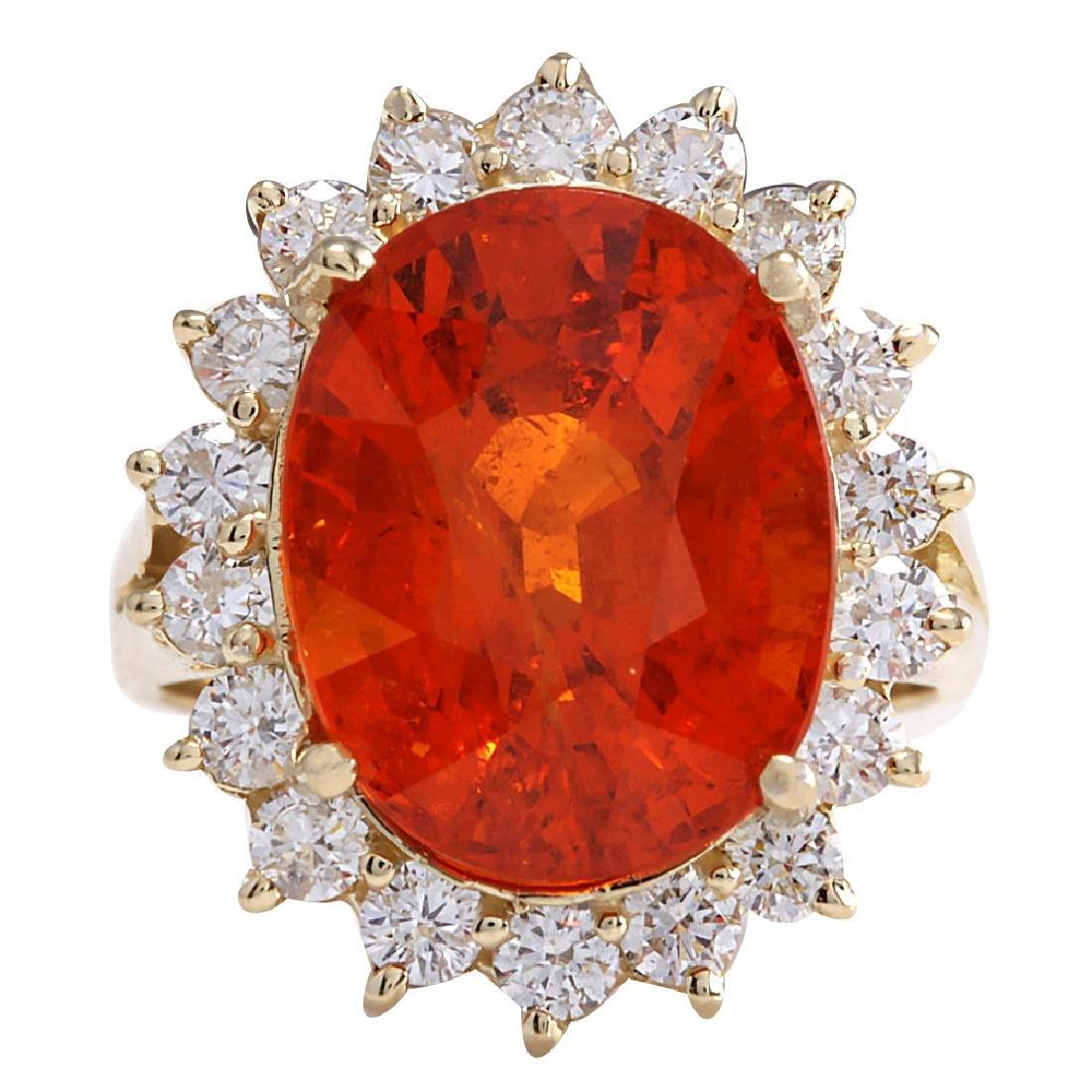 12.41CTW Natural Mandarin Garnet And Diamond Ring 18K
