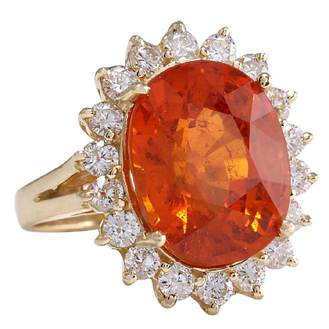12.41CTW Natural Mandarin Garnet And Diamond Ring 18K - 2