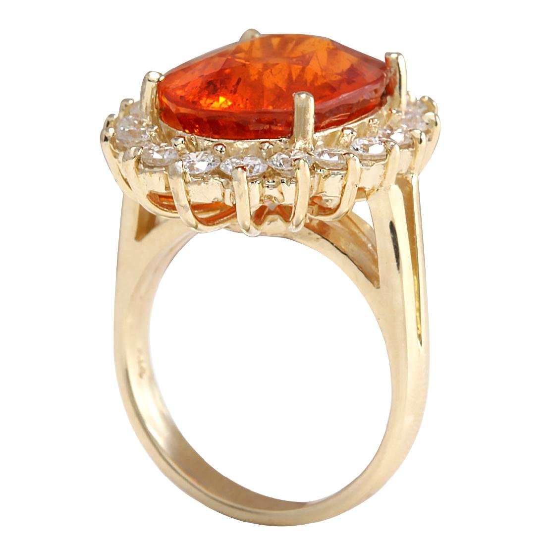 12.41CTW Natural Mandarin Garnet And Diamond Ring 18K - 3