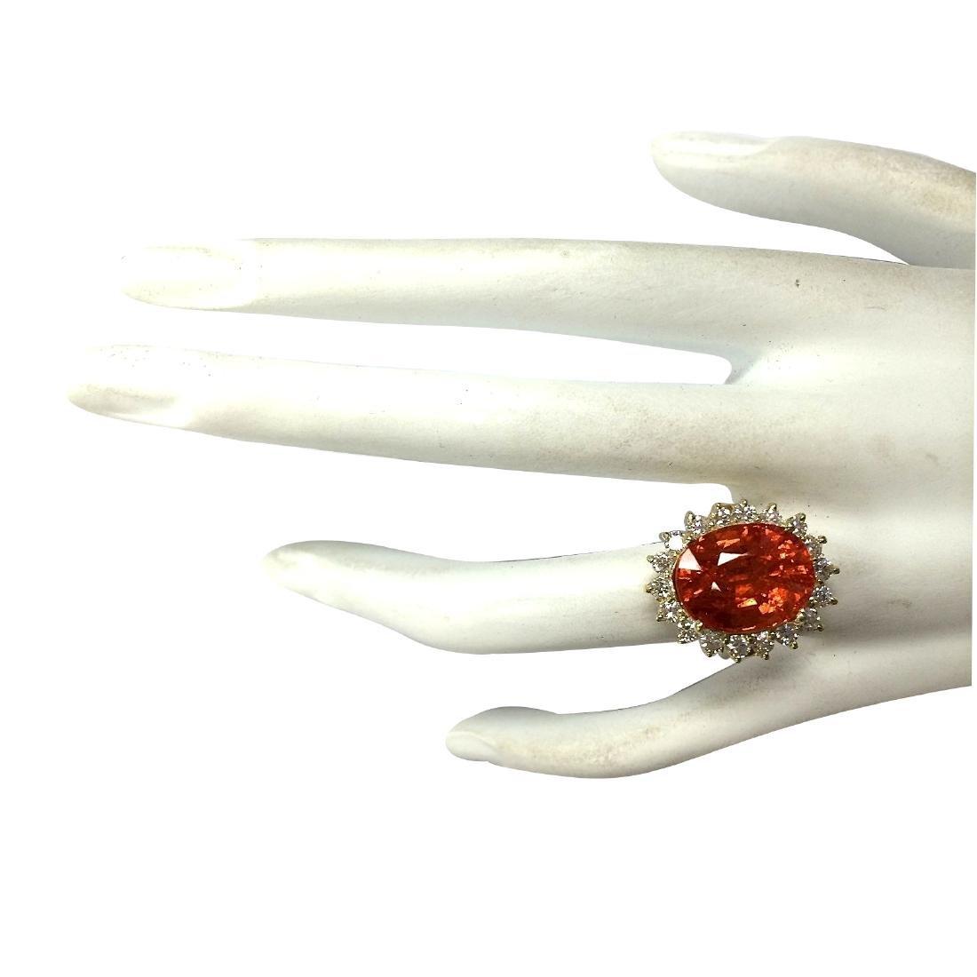 12.41CTW Natural Mandarin Garnet And Diamond Ring 18K - 4