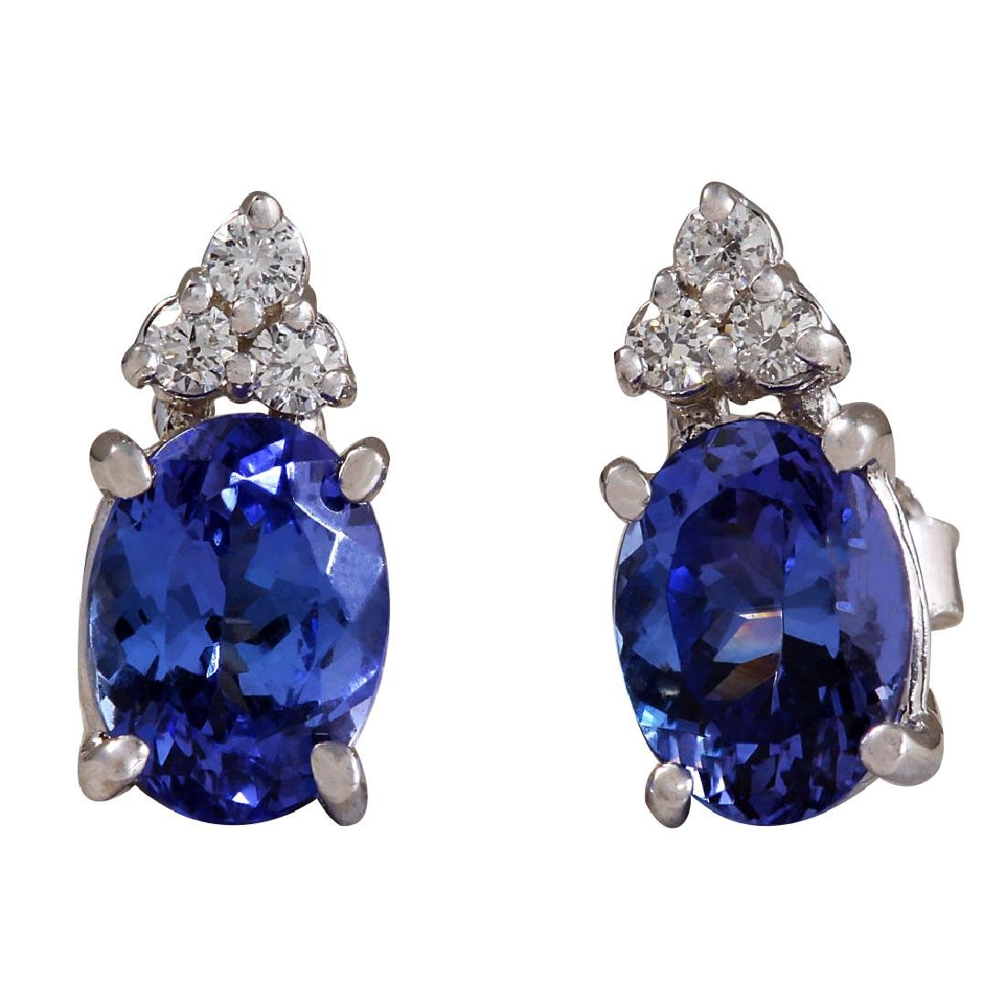 3.00CTW Natural Blue Tanzanite And Diamond Earrings 18K