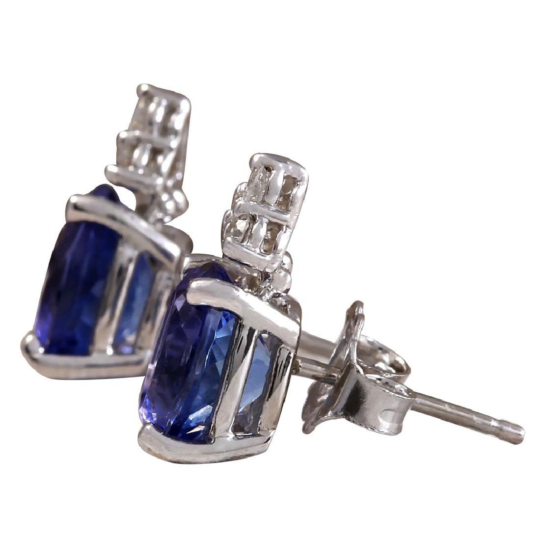 3.00CTW Natural Blue Tanzanite And Diamond Earrings 18K - 2