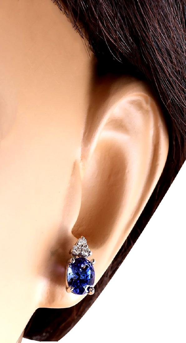 3.00CTW Natural Blue Tanzanite And Diamond Earrings 18K - 3