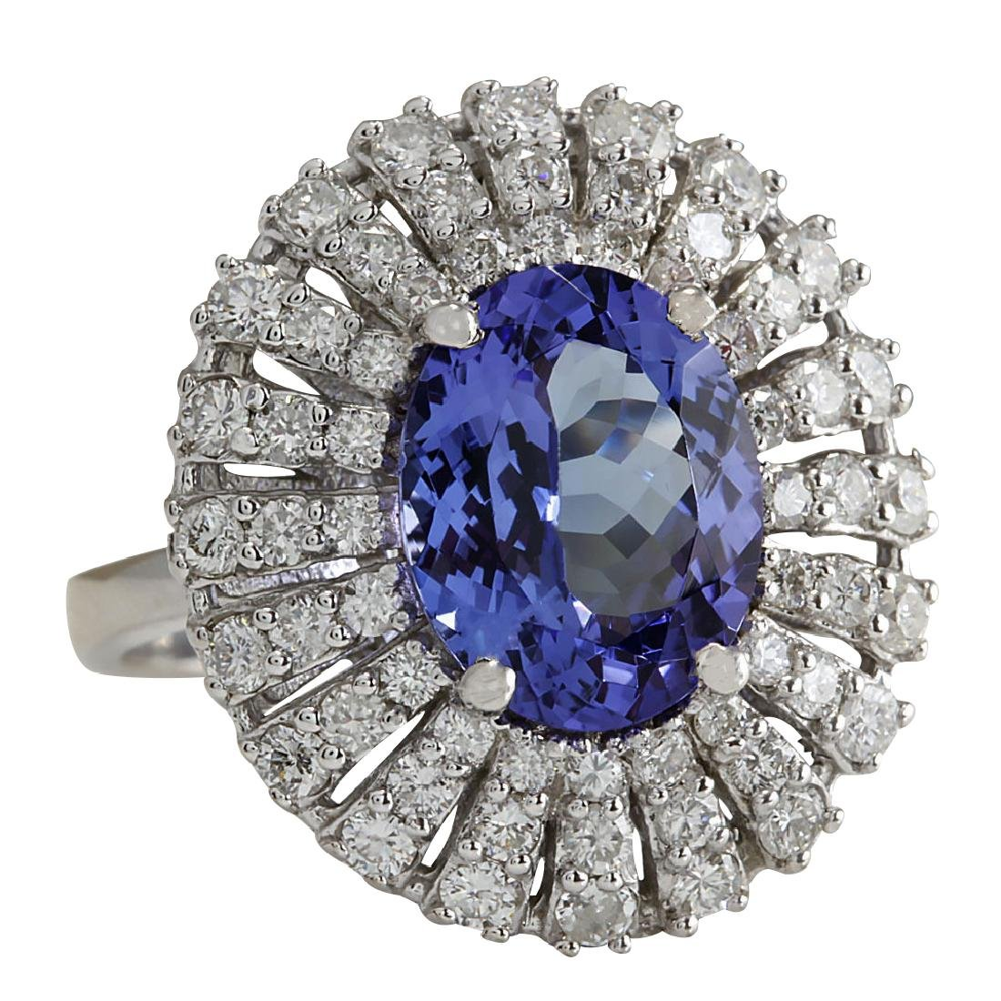 5.45CTW Natural Blue Tanzanite And Diamond Ring In 18K - 2
