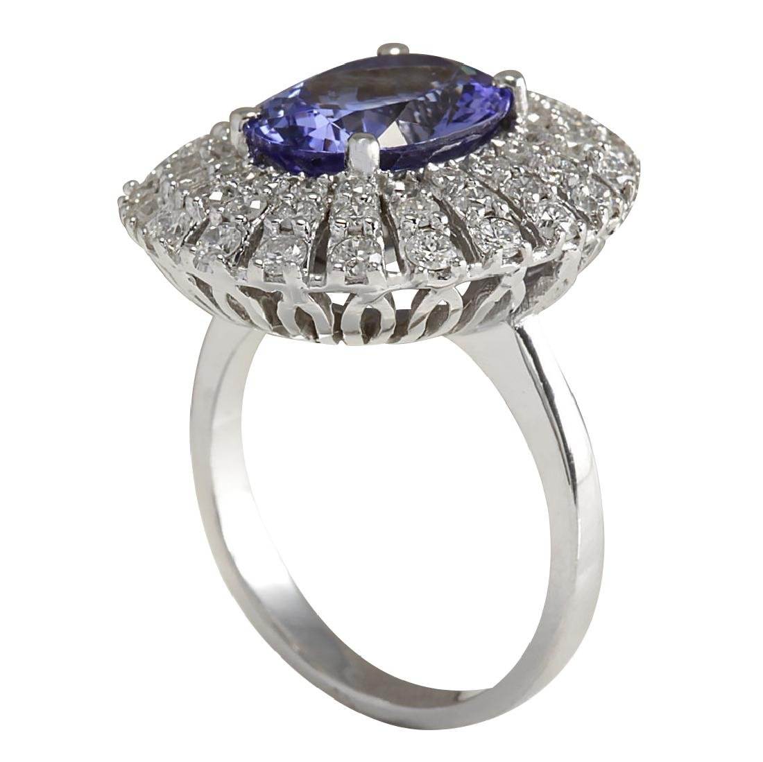5.45CTW Natural Blue Tanzanite And Diamond Ring In 18K - 3