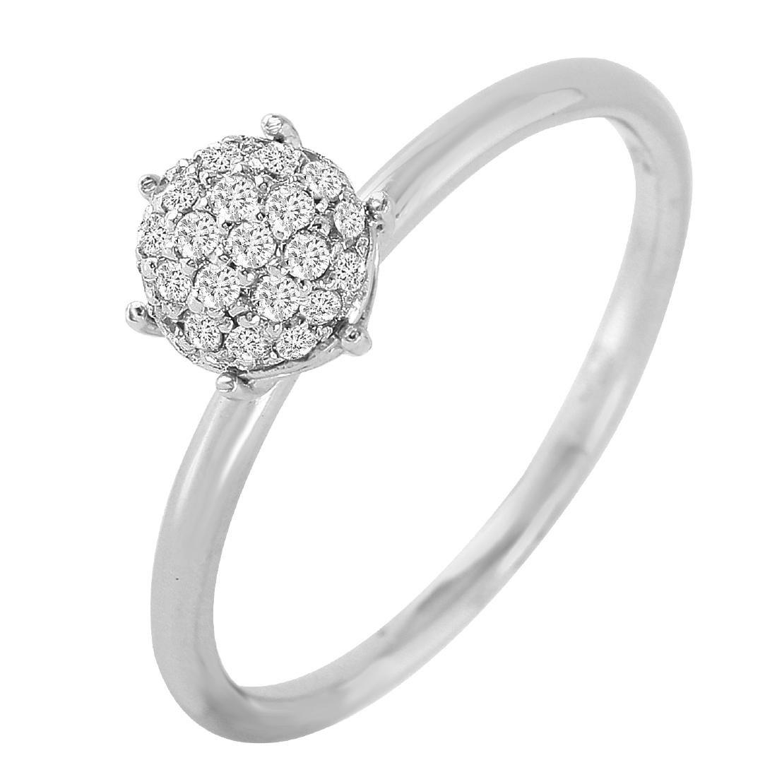 0.19 Carat Natural Diamond 18K Solid White Gold Ring