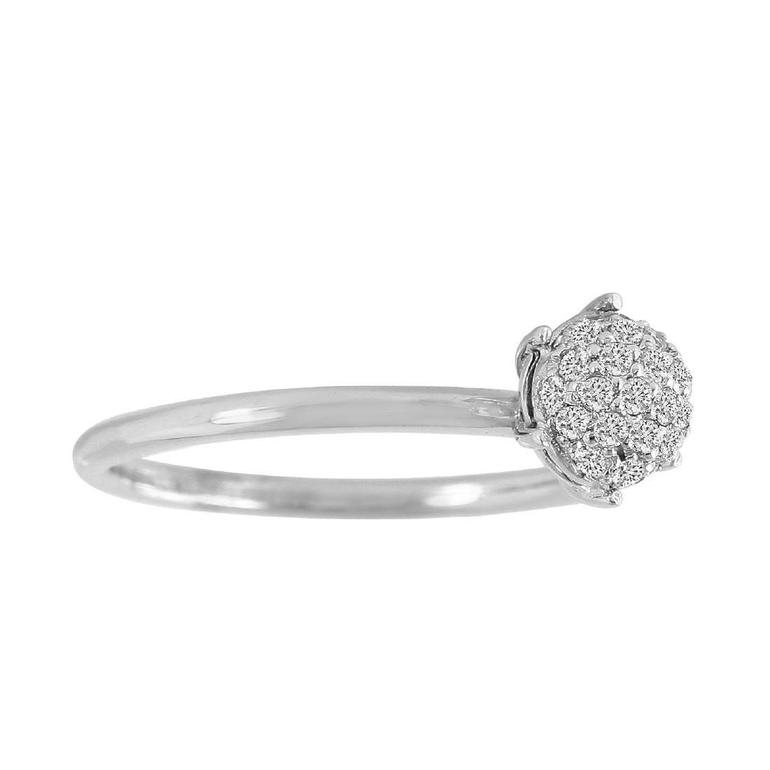 0.19 Carat Natural Diamond 18K Solid White Gold Ring - 2