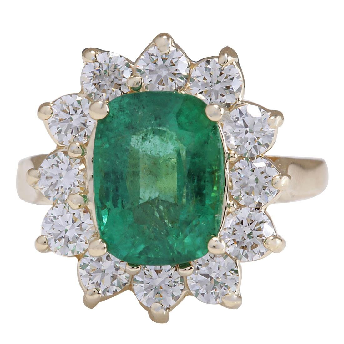 4.11CTW Natural Emerald And Diamond Ring 18K Solid
