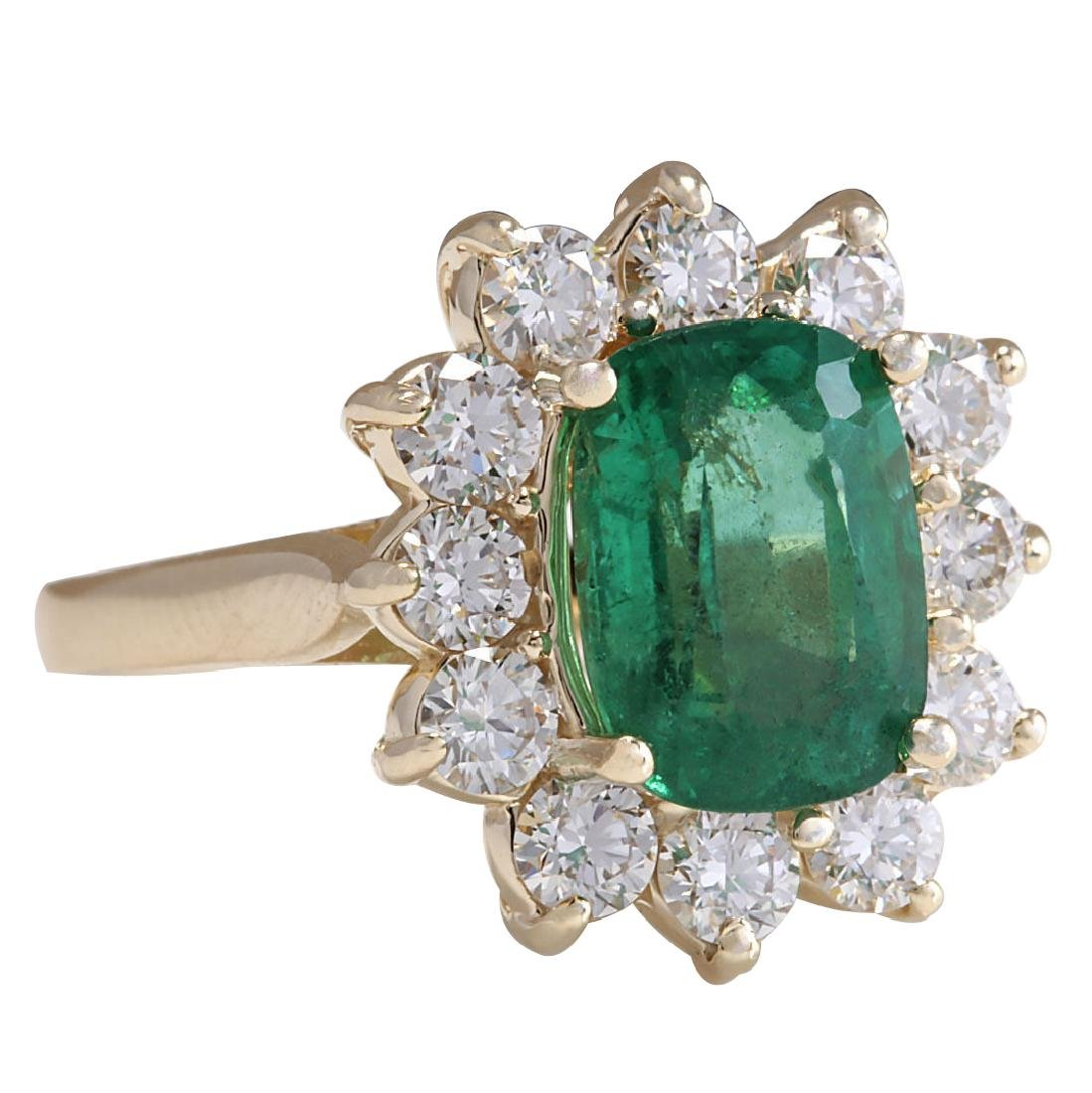 4.11CTW Natural Emerald And Diamond Ring 18K Solid - 2