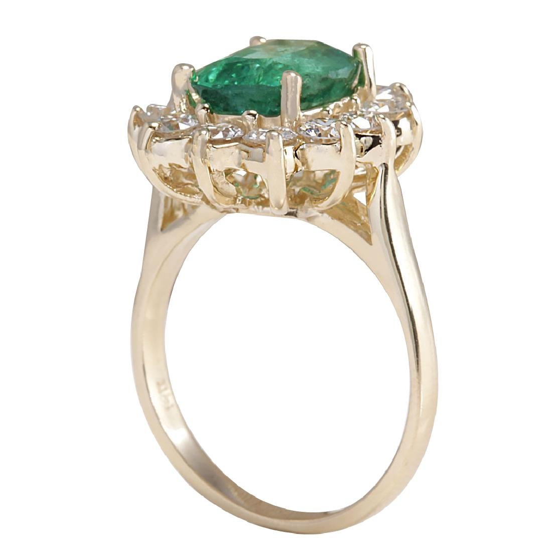 4.11CTW Natural Emerald And Diamond Ring 18K Solid - 3