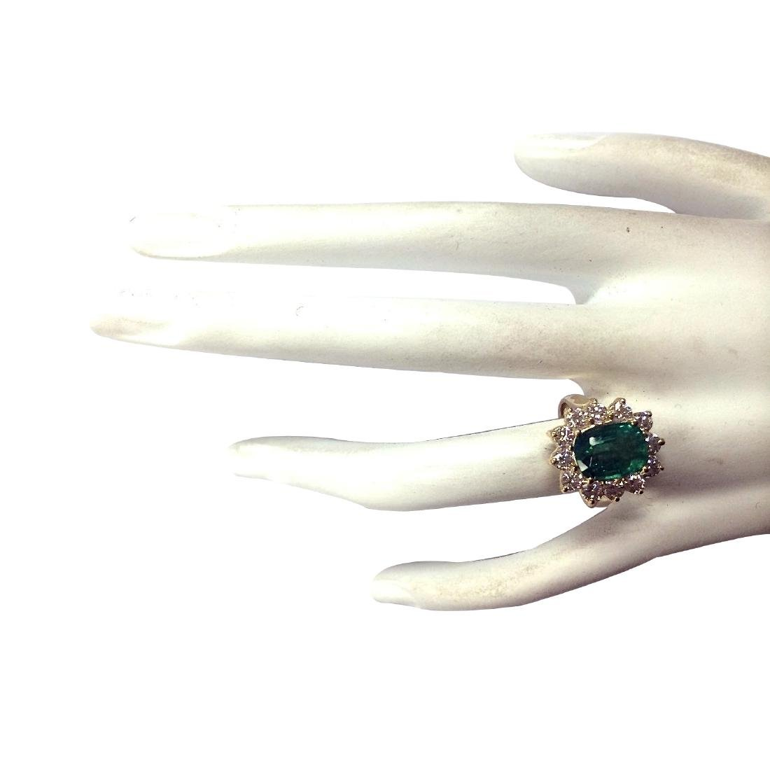 4.11CTW Natural Emerald And Diamond Ring 18K Solid - 4