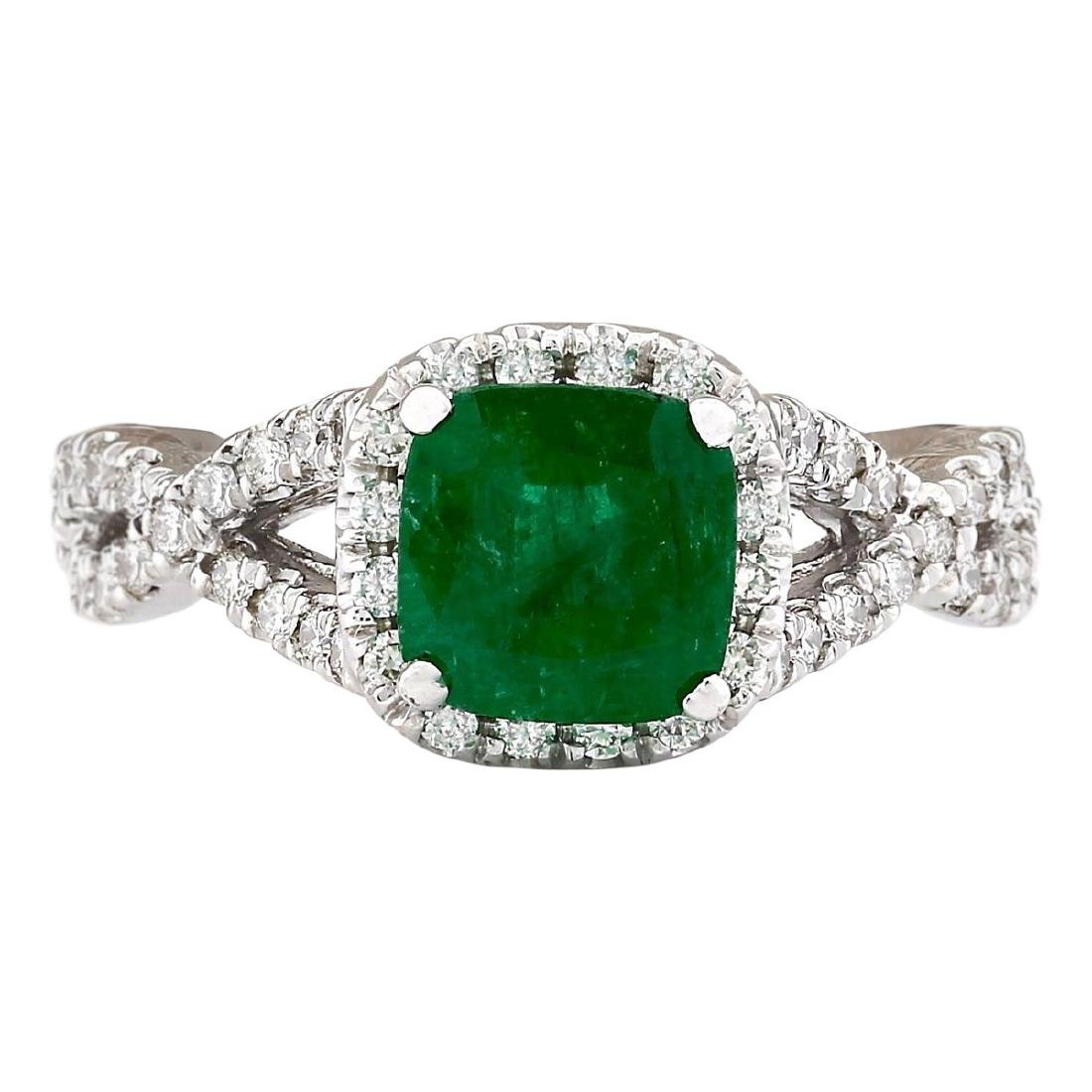 2.49 CTW Natural Emerald And Diamond Ring In 18K White