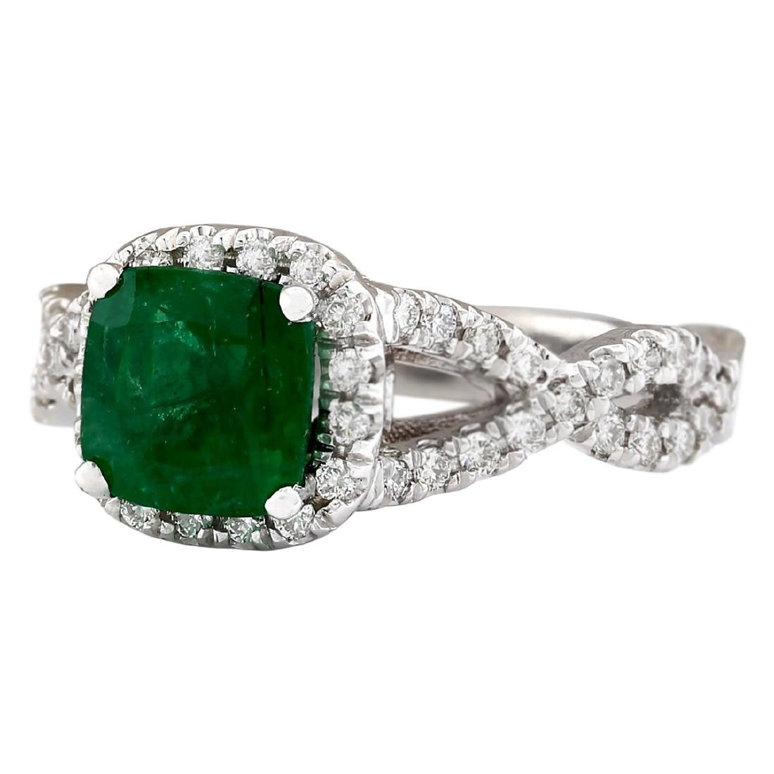 2.49 CTW Natural Emerald And Diamond Ring In 18K White - 2