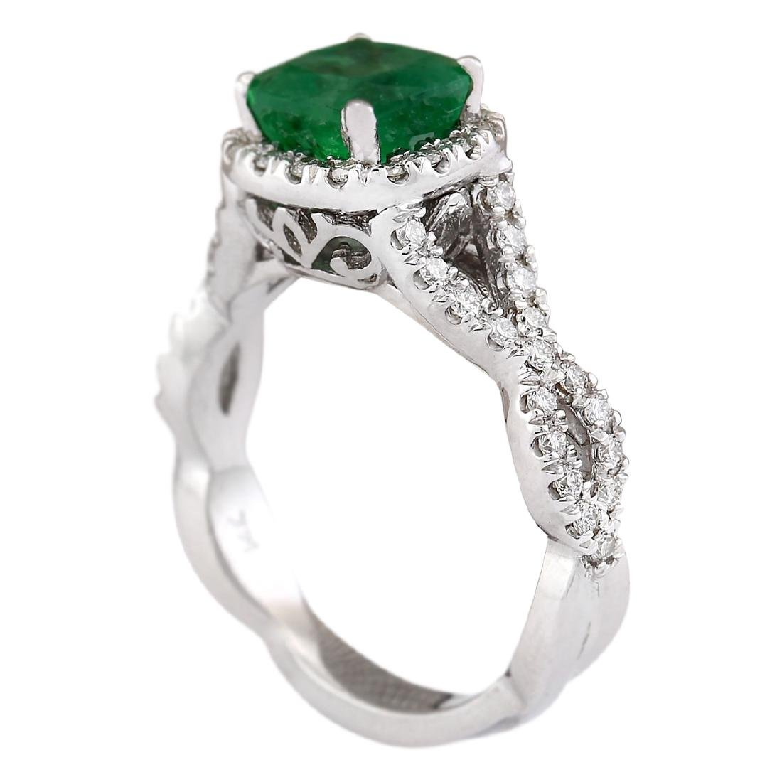 2.49 CTW Natural Emerald And Diamond Ring In 18K White - 3