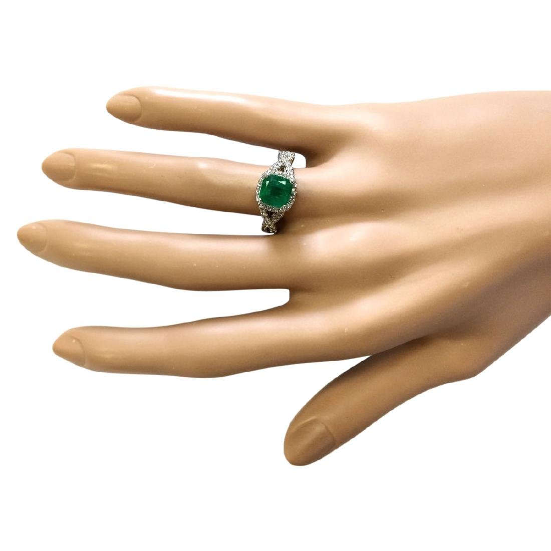 2.49 CTW Natural Emerald And Diamond Ring In 18K White - 4
