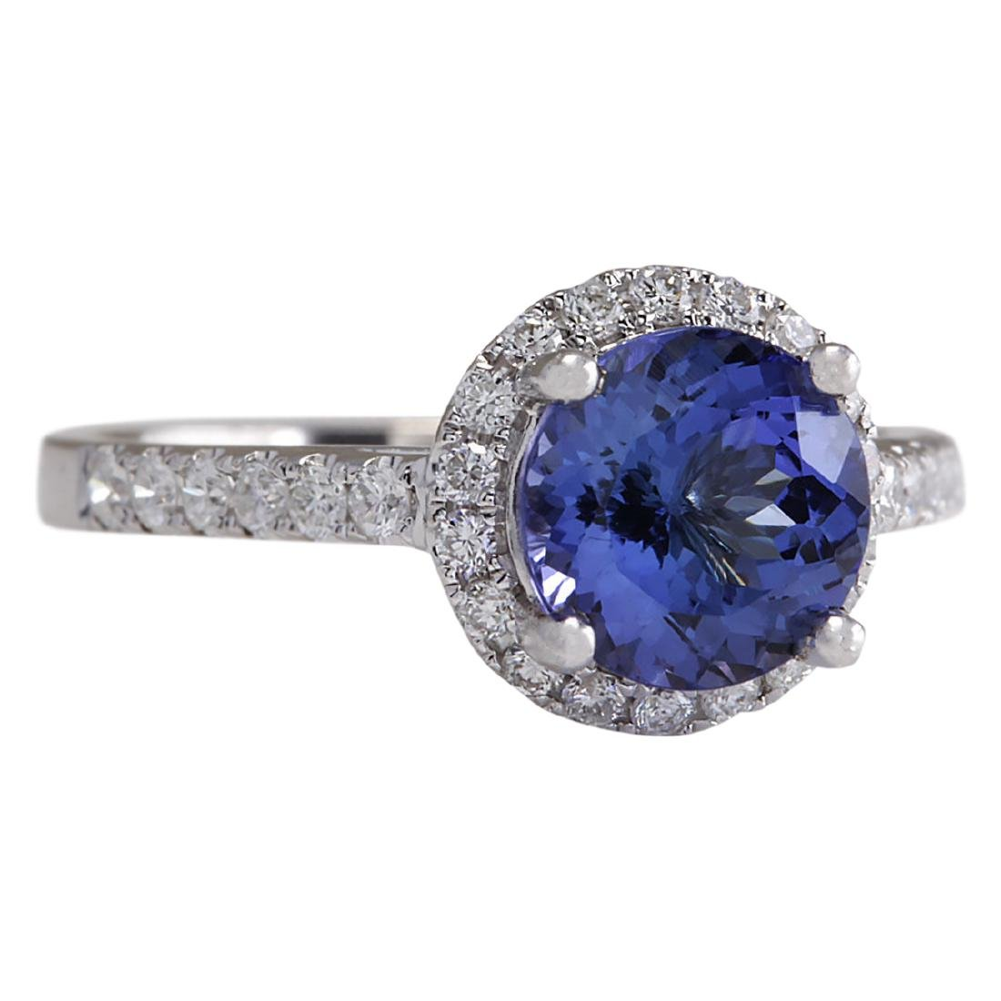 2.17 CTW Natural Blue Tanzanite And Diamond Ring In 18K - 2