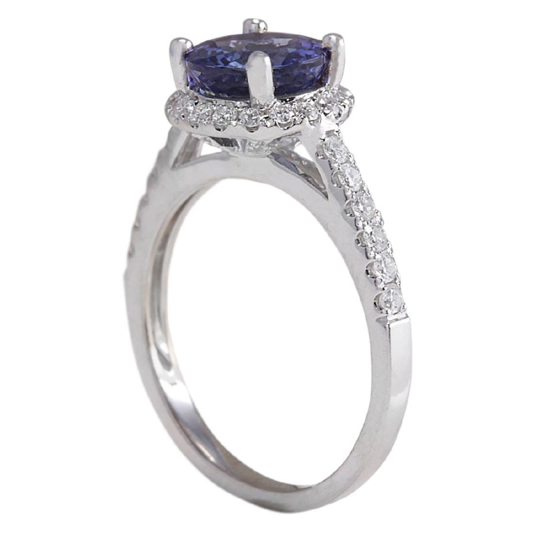 2.17 CTW Natural Blue Tanzanite And Diamond Ring In 18K - 3
