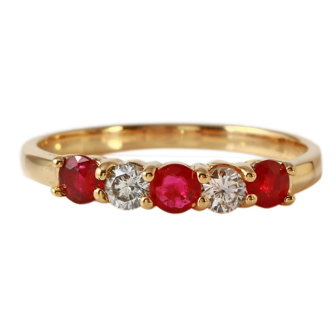 0.66 Carat Natural Ruby 18K Solid Yellow Gold Diamond