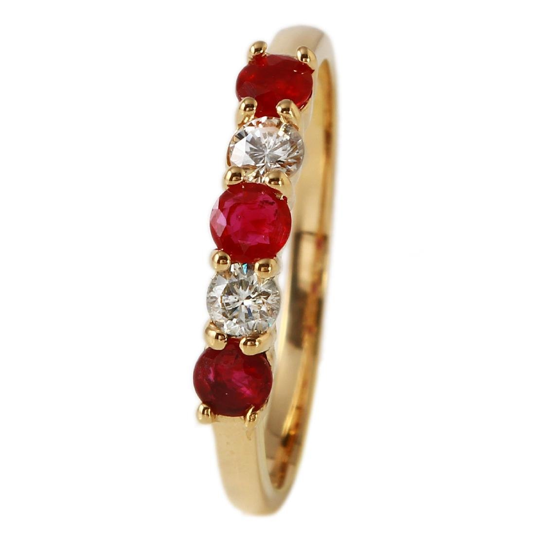 0.66 Carat Natural Ruby 18K Solid Yellow Gold Diamond - 2