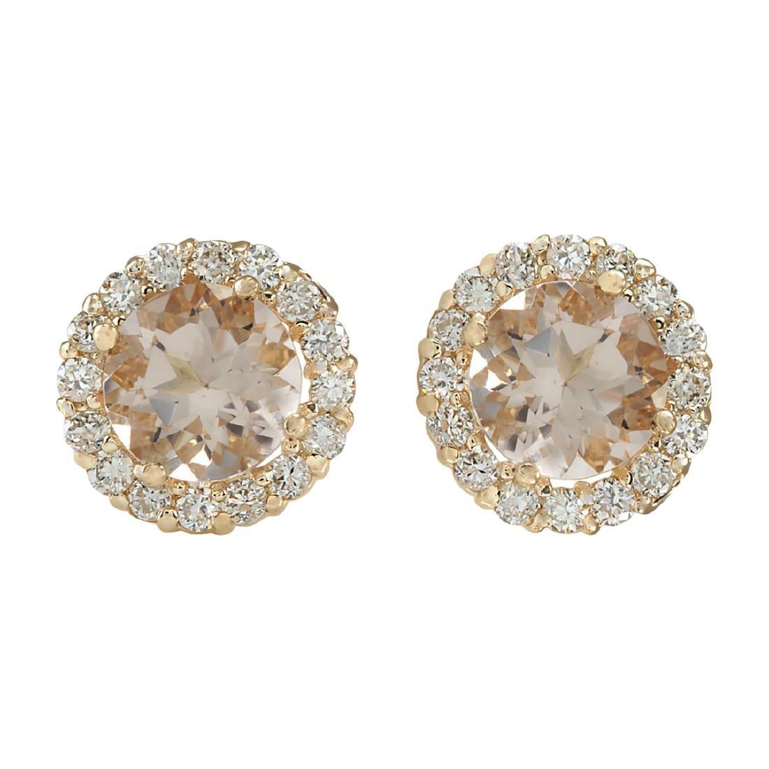 3.65 CTW Natural Morganite And Diamond Earrings 18K