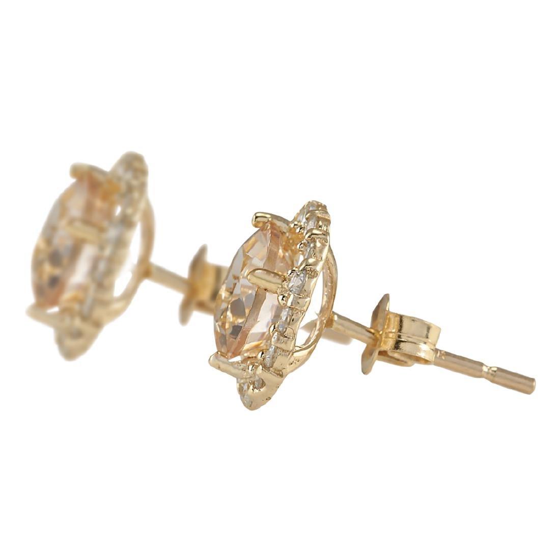 3.65 CTW Natural Morganite And Diamond Earrings 18K - 2