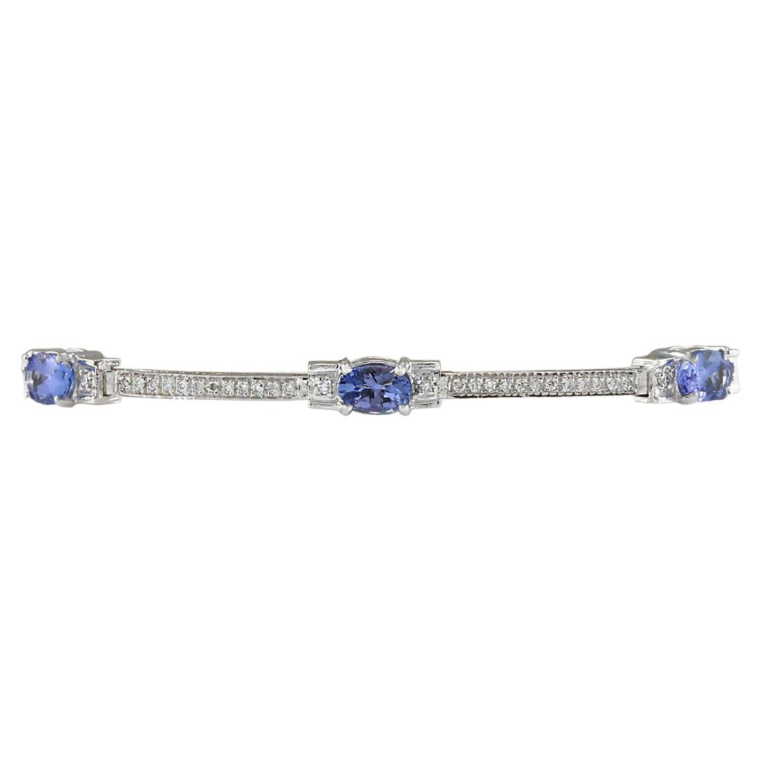 3.75 CTW Natural Tanzanite And Dimond Bracelet In 18K