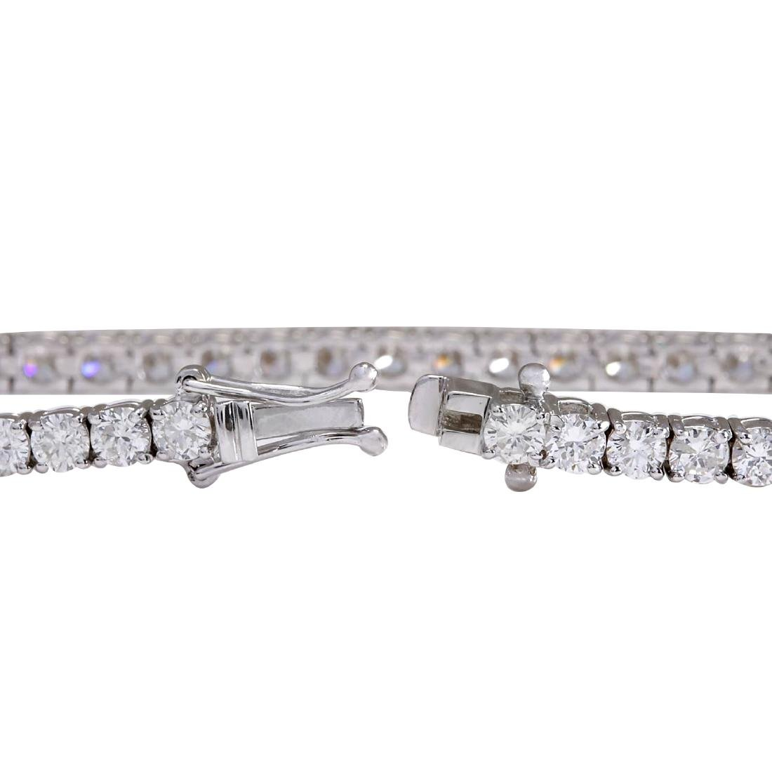 6.85CTW Natural Diamond Bracelet In 18K Solid White - 2