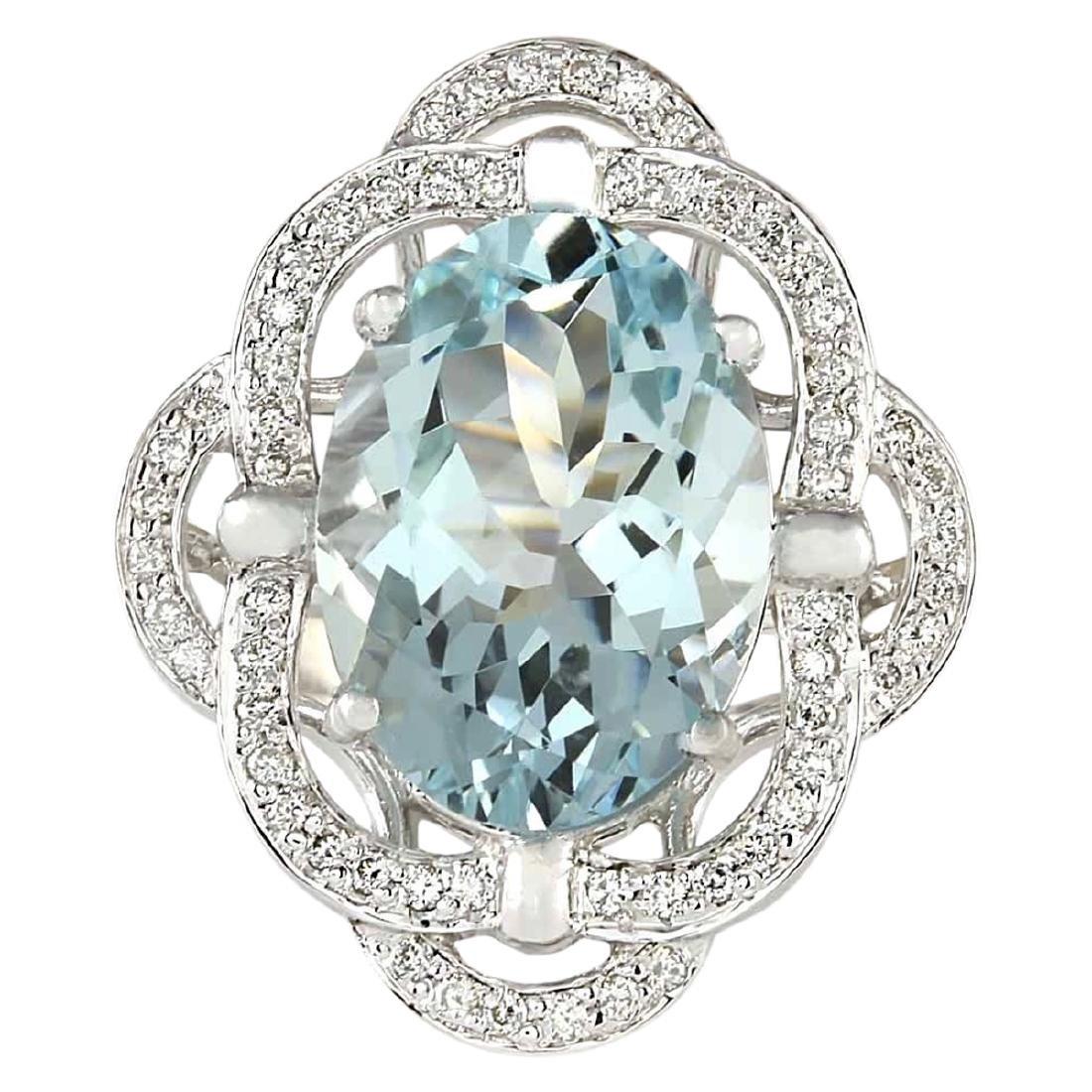 6.97 CTW Natural Aquamarine And Diamond Ring In 18K