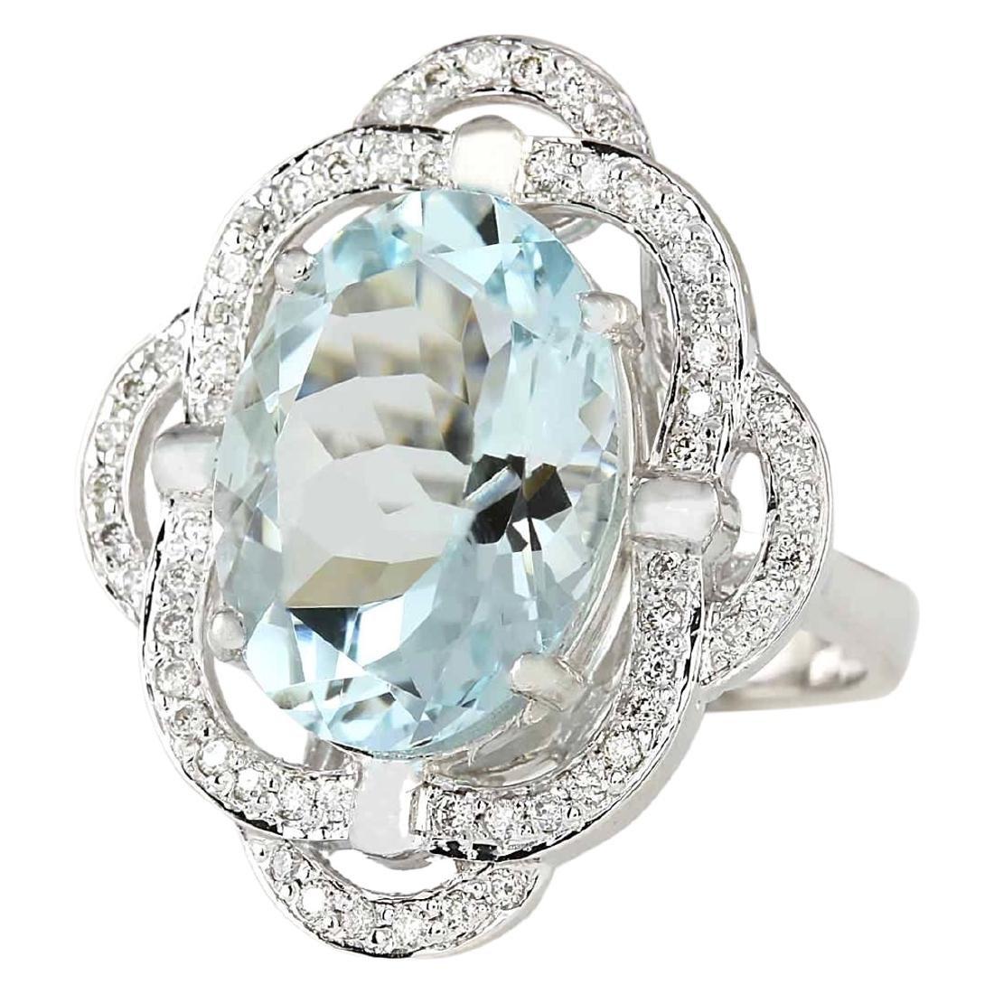 6.97 CTW Natural Aquamarine And Diamond Ring In 18K - 2