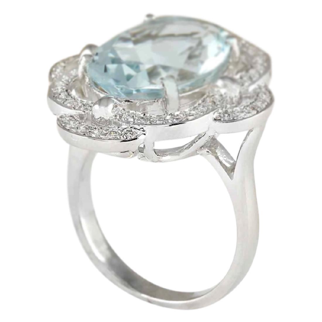 6.97 CTW Natural Aquamarine And Diamond Ring In 18K - 3