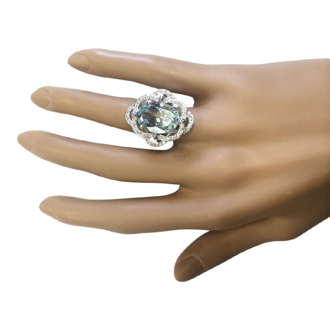 6.97 CTW Natural Aquamarine And Diamond Ring In 18K - 4