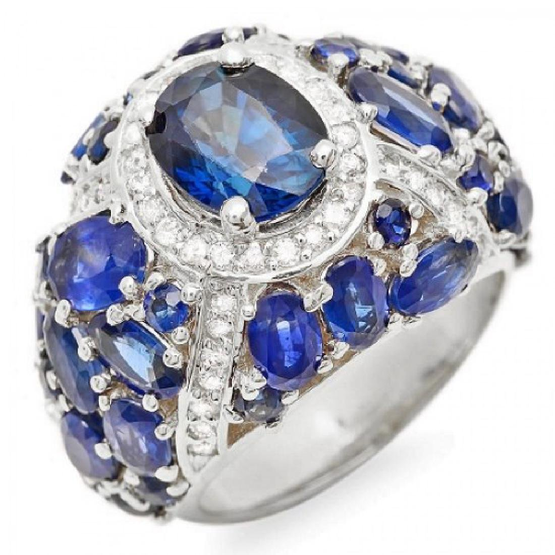 8.13 Carat Natural Sapphire 18K Solid White Gold