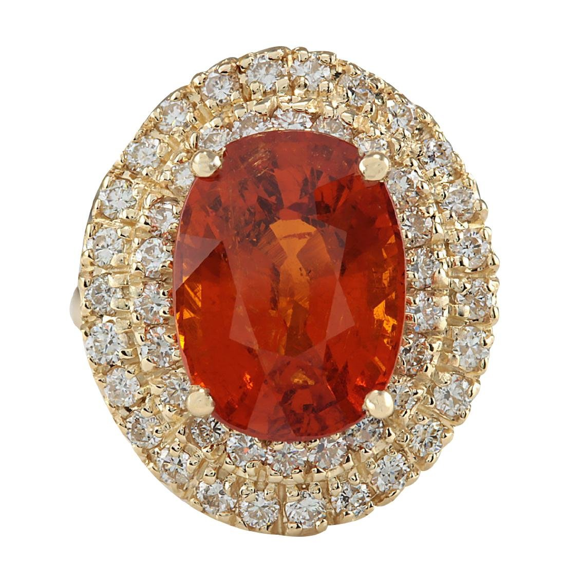 11.64CTW Natural Mandarin Garnet And Diamond Ring 18K