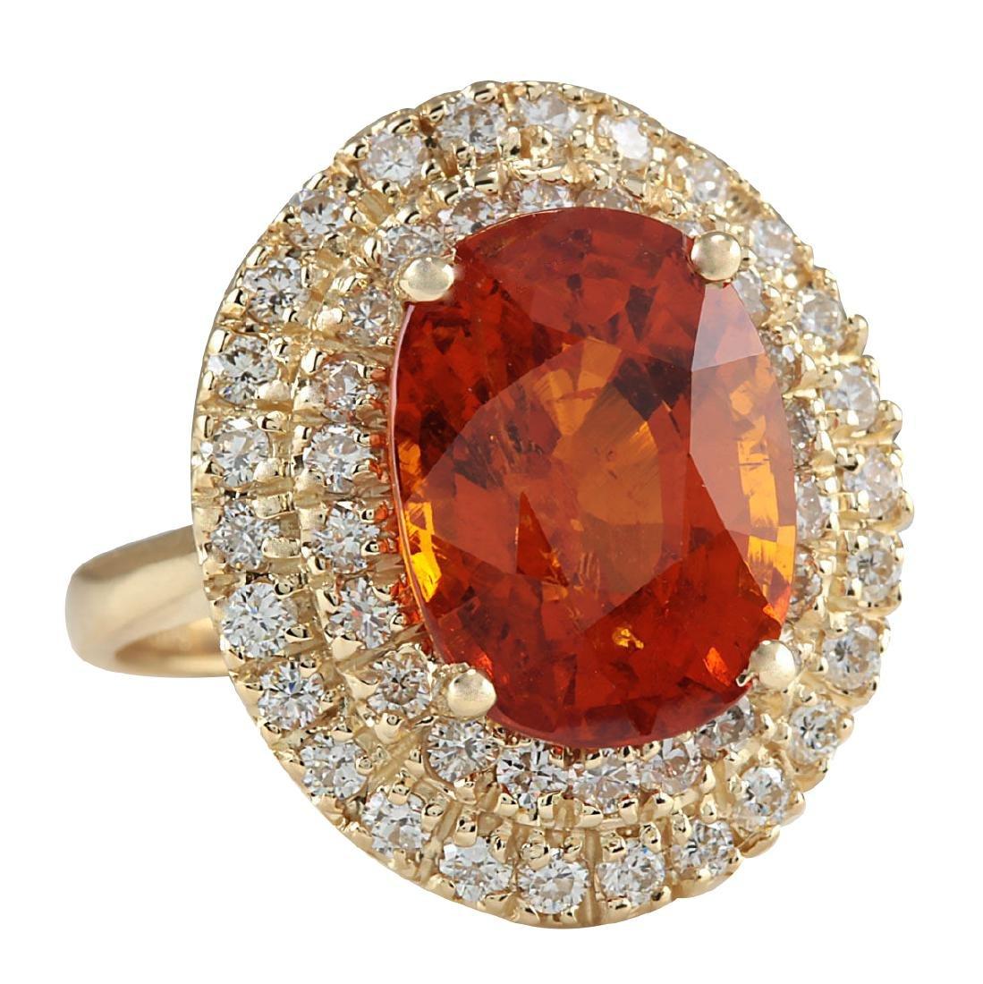 11.64CTW Natural Mandarin Garnet And Diamond Ring 18K - 2