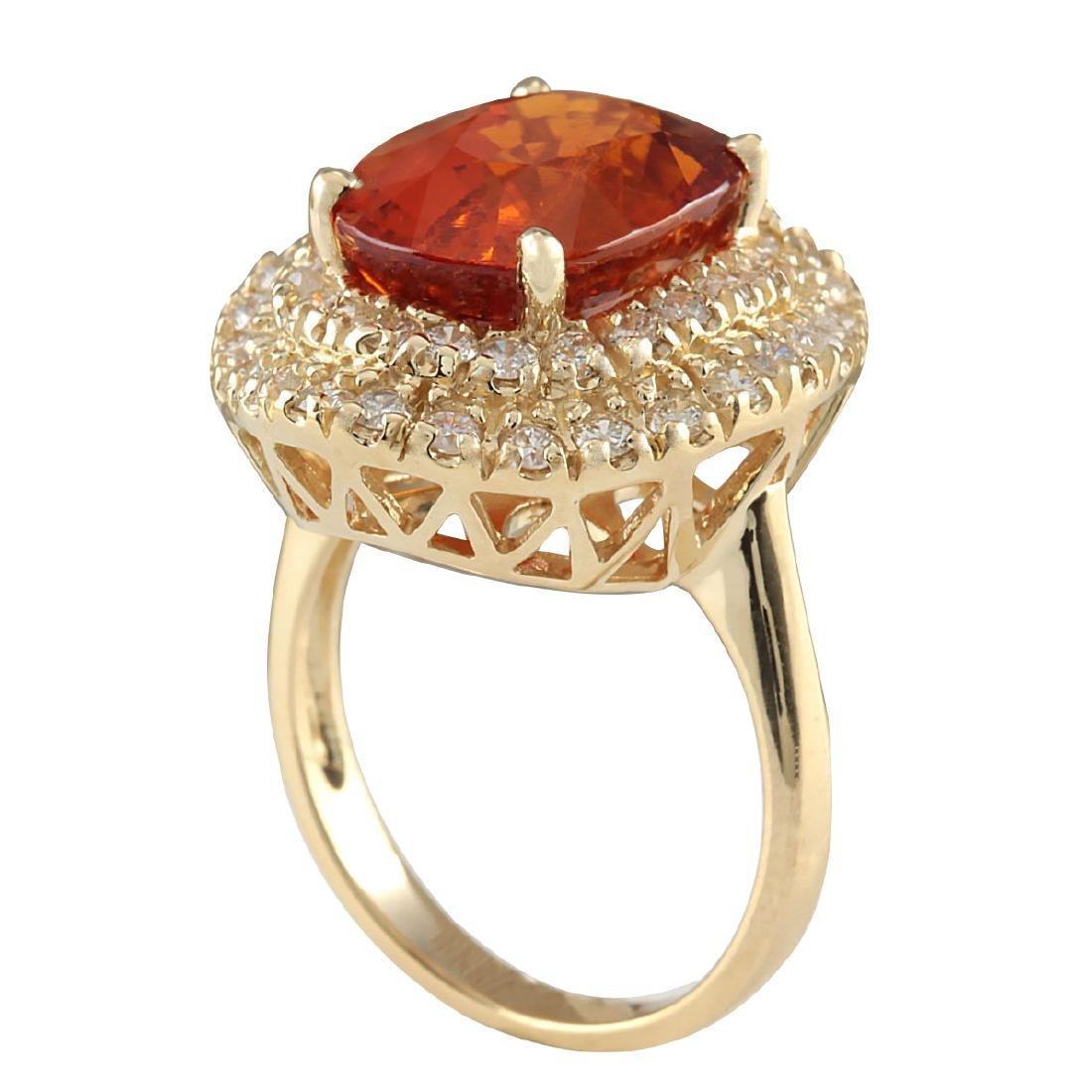 11.64CTW Natural Mandarin Garnet And Diamond Ring 18K - 3